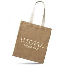brown jute tote bag with short handles