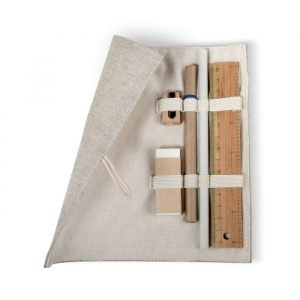 Set d'accessoires de bureau écologiques avec pochette en coton