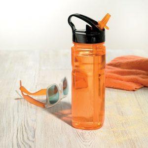 Bouteille d'eau écologique réutilisable et accessoires de couleur orange