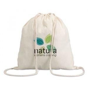sac écologique à cordon en coton blanc personnalisé avec logo