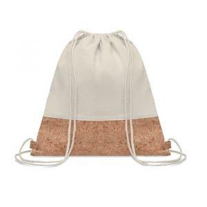 Drawstring bag w/cork details