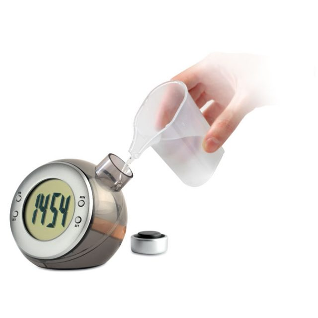 large LCD display hydro-powered clock