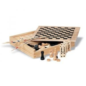 promotional board games of checkers, chess, dominoes and mikados