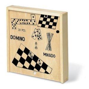 4 jeux dans une boîte (échecs, dames, dominos, mikado)