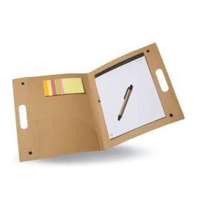 Porte-document dossier de conférence ouvert en carton avec stylo et post-it
