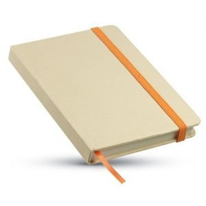 A6 recycled promotional notebook with orange ribbon