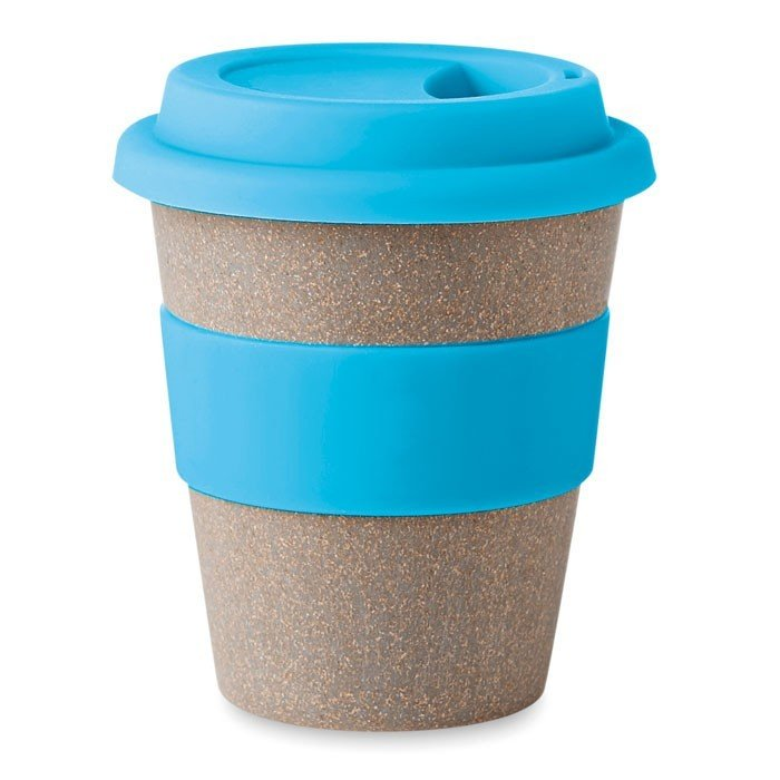 Reusable To Go Cup with blue silicone grip and lid