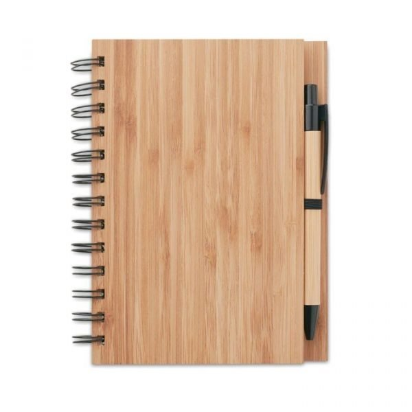 bamboo notebook with recycled paper and bamboo pen