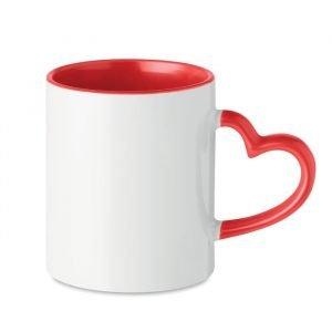 Tasse en céramique écologique avec anse en forme de cœur et intérieur rouge