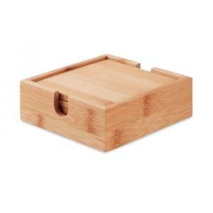 4 Bamboo Coasters w/ holder