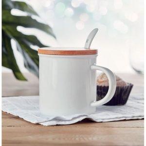 Mug and bamboo lid w/spoon