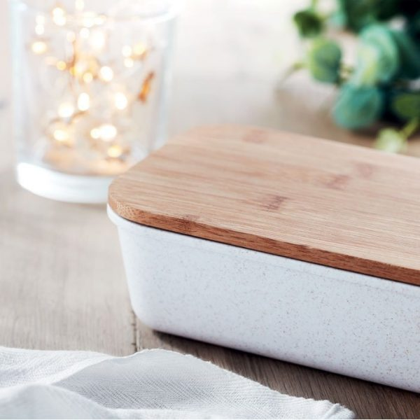 gamelle lunchbox couvercle en bambou écologique au bureau