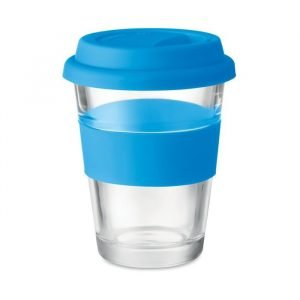 glass tumbler cup with blue silicone grip and lid