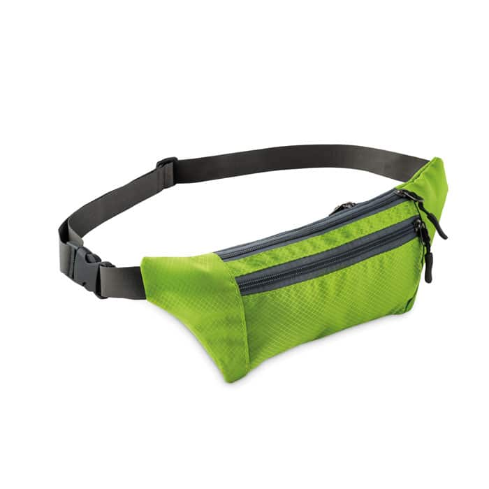 green fanny pack with 3 zippered pockets