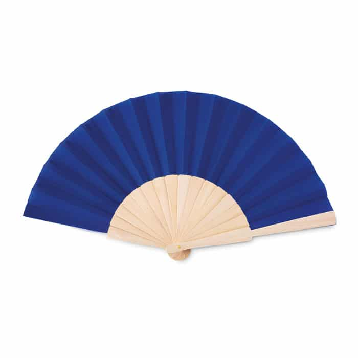blue opened hand fan