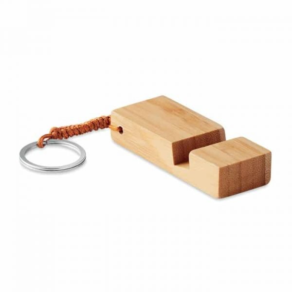 smartphone stand in bamboo with a keyholder