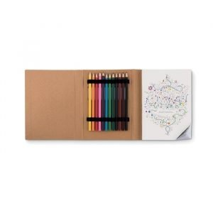 adult colouring book with coloured pencils included