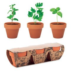 Herb growing set with 3 pots