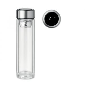 Glass Bottle with tea infuser and thermometer