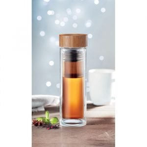 Bottle with bamboo lid and tea infuser