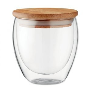 Double wall glass with bamboo lid