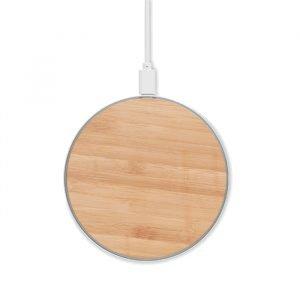 Circular bamboo wireless charger
