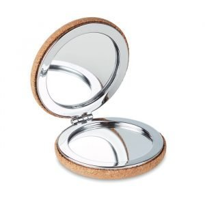 Pocket mirror made from cork