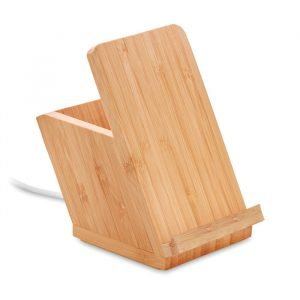 Bamboo wireless charger with pen holder and stand