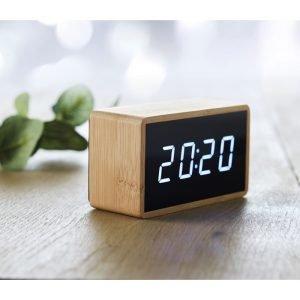 Alarm clock with bamboo casing