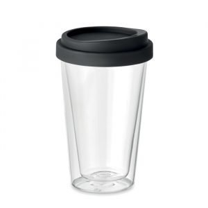 Double wall glass with silicone lid