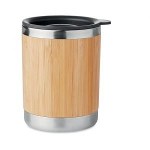 Double walled stainless steel tumbler with bamboo casing