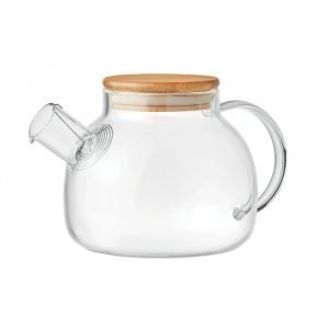 Glass teapot with bamboo lid