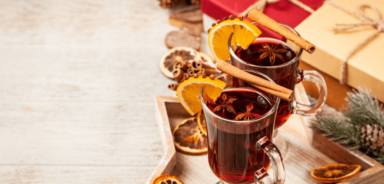 Christmas marketing campaign image with two glasses of orange liquor